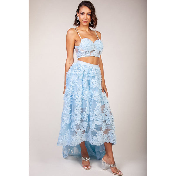 Applique Dusty Blue Statement Skirt Set Indowestern