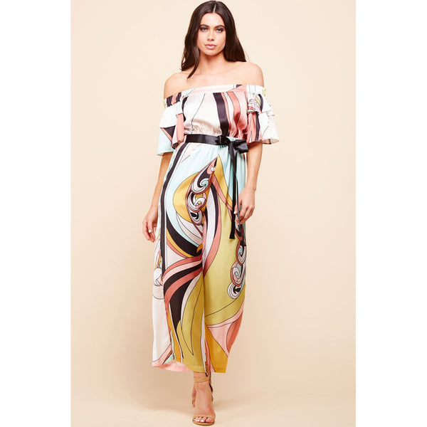 Sarah Retro print Off Shoulder Jumpsuit