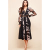 Jennifer Elegant Black Floral Embroidered Chiffon Midi Dress