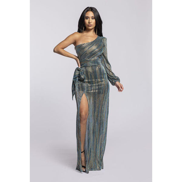 Jennifer One shoulder long maxi dress