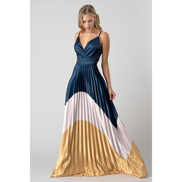 Selena Color Block Pleated Maxi Dress