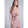 Sarah Vintage Rose Front Ribbon Tie Collar Waist Cut Out Mini Dress
