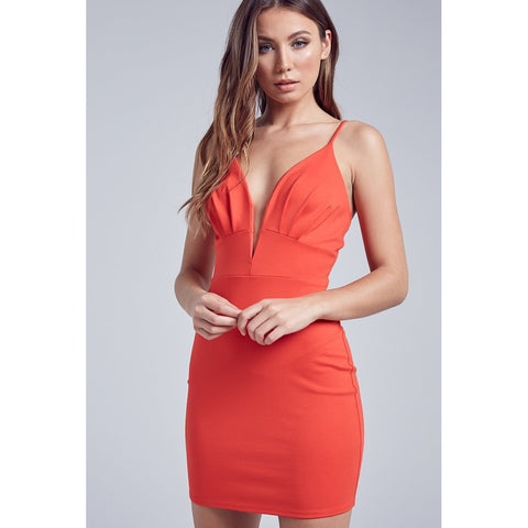Emma Sexy Front V-neck Sleeveless Bodycon Mini Dress