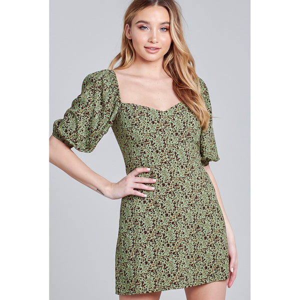 Scarlett Floral Sweetheart Neck Puff Sleeve Mini Dress