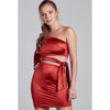 Scarlett Sexy Satin Waist Tie One Shoulder Dress