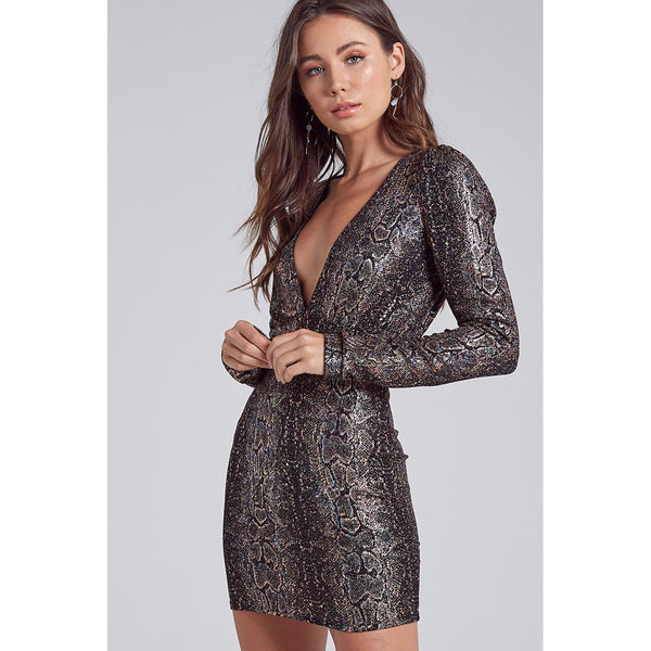 Jacqueline Snakeskin Print V-Neck Mini Dress