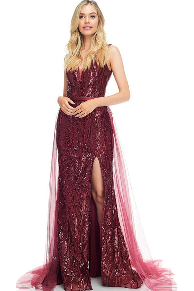 Sabrina Wine Floor Length Sequin Gown with Tulle Detachable Skirt