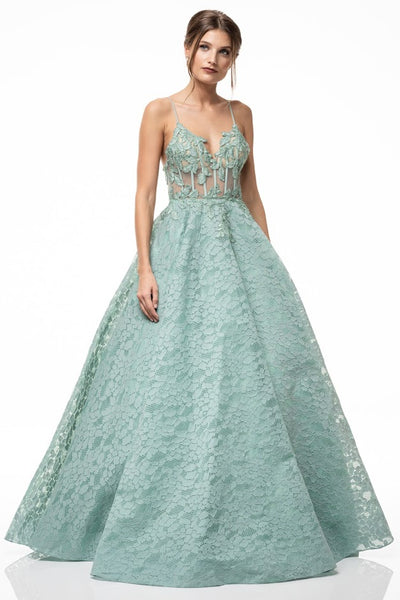Edana in the Garden Floor Length Ball Gown