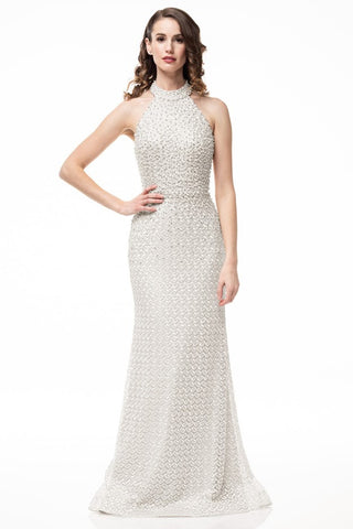 Aida Ivory Bodycon Pearl Embellished Dress