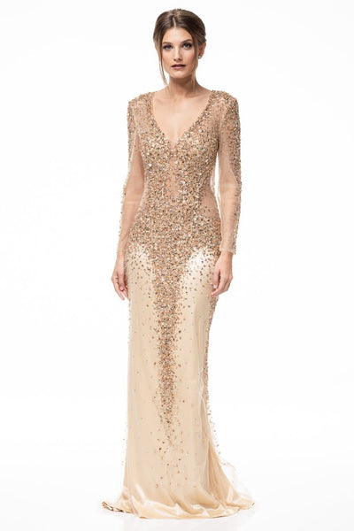 Celeste Gold Sheer Beaded Long Evening Gown