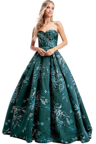 Green Silver Cinderella Sweetheart Strapless Gown