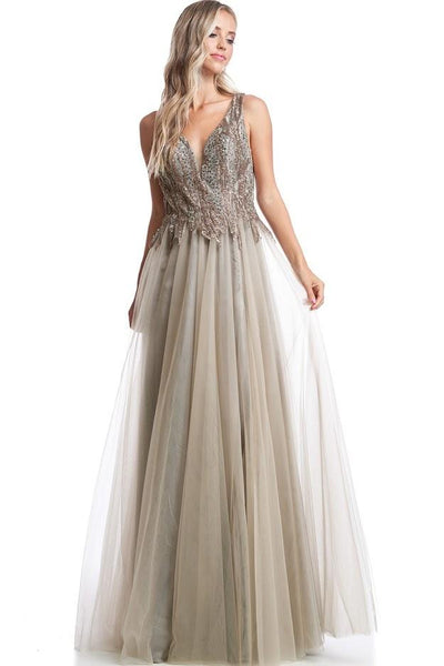 Ariel Grey Brown Pastel A line Tulle Gown