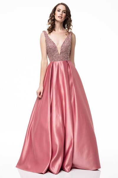 Dusty Rose Satin Crepe Evening Gown