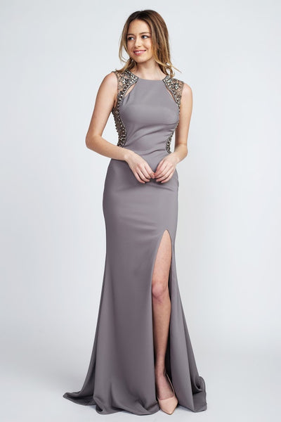 Elegant Eva Grey Backless Beaded Evening Gown