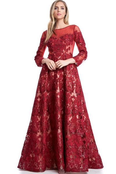 Kareena Red Lacy Embroidered Sheer Gown