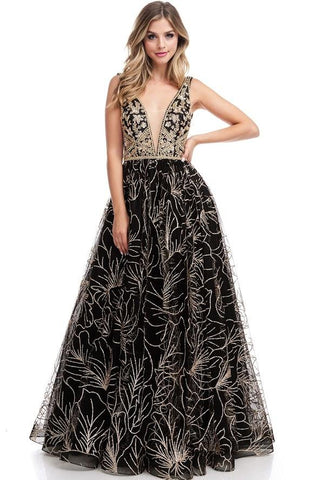 Selena Black Gold Open Back Ball Gown