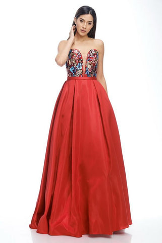 Katy Floral Bloom Red Sweetheart Ball Gown