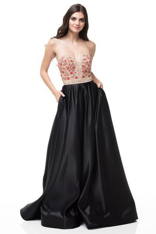 Kiara Black Sweetheart A-line Gown