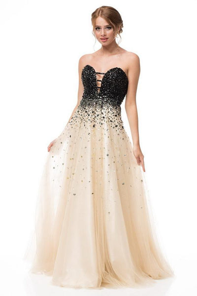 Emma Black Champagne Sweetheart Ball Gown