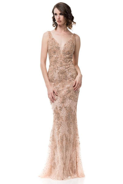 Diana Classic Rose Gold Backless Trumpet Dress