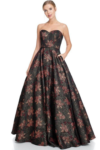 Anna Black Burgundy Jacquard Ball Gown