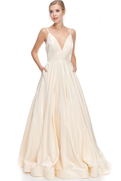 Annalise Cream Metallic Fabric A-Line Gown