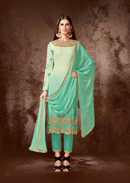 Sea Green Georgette Straight Salwar Kameez