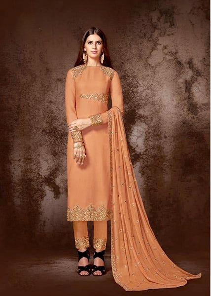 Elegant Orange Monotones Straight Party Wear Salwar Kameez