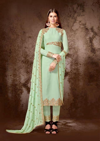 Aqua Green Georgette Straight Party Wear Salwar Kameez
