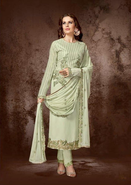 Dull Olive Green Georgette Straight Party Wear Salwar Kameez
