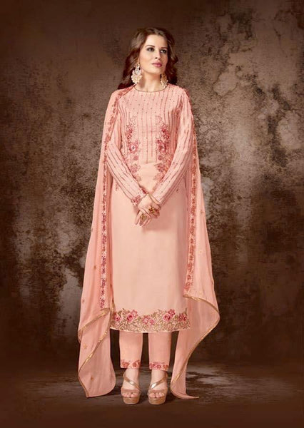 Light Peach Georgette Straight Party Wear Salwar Kameez