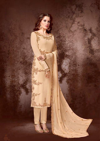 Chiku Georgette Straight Party Wear Salwar Kameez