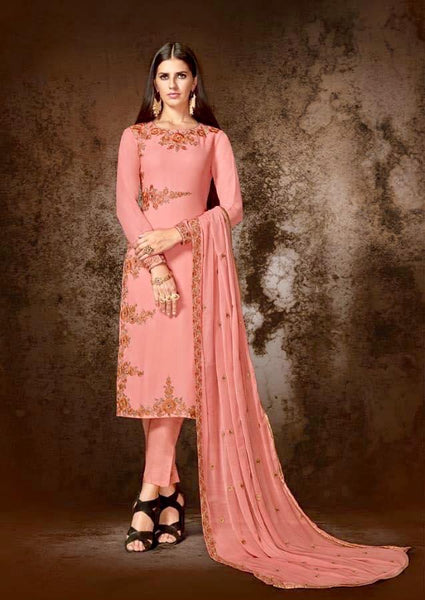 Pink Georgette Straight Party Wear Salwar Kameez