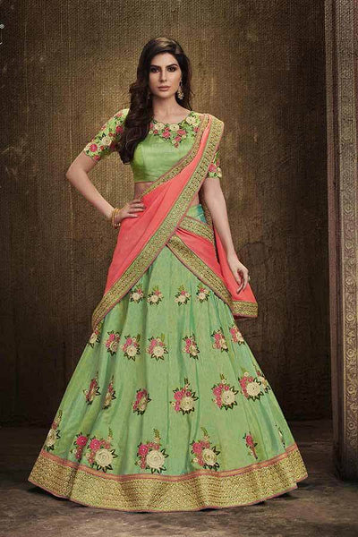 Floral Embroidered Green And Pink Color Lehenga