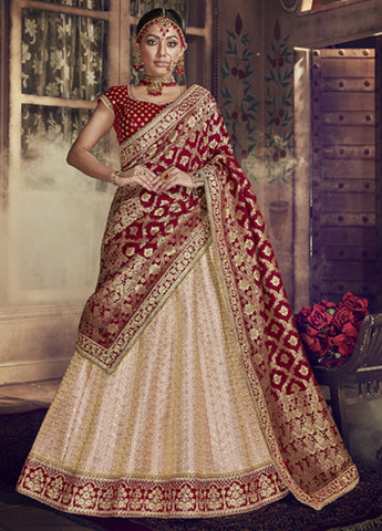 Gorgeous Light Peach and Maroon Wedding Wear Lehenga