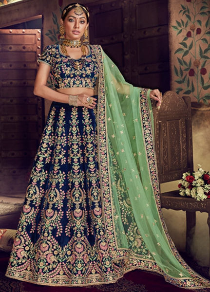 Stunning Blue And Green Wedding Wear Lehenga