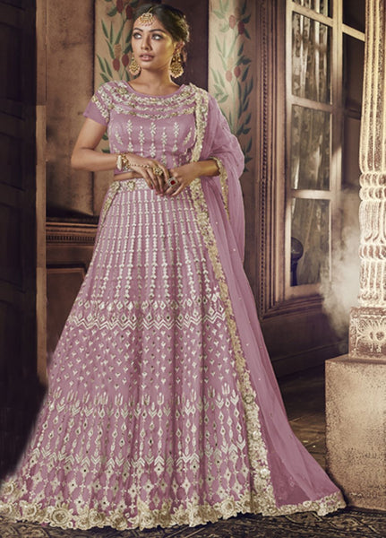 Subtle Lavender Pink Wedding Wear Lehenga