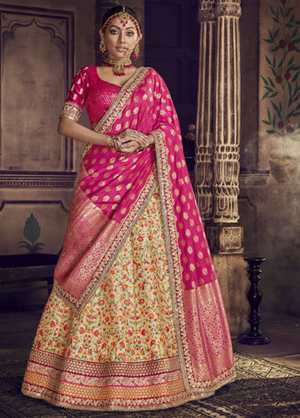 Beautiful Pink and Light yellow Party Wear Lehenga Choli