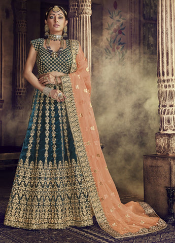 Stunning Green and Light orange Party Wear Lehenga Choli