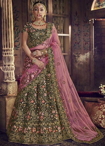 Gorgeous Pink and Green Wedding Wear Lehenga