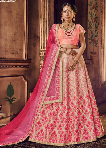 Graceful Peach and Pink Wedding Wear Lehenga