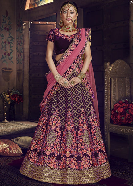 Alluring Violet and Pink Wedding Wear Lehenga