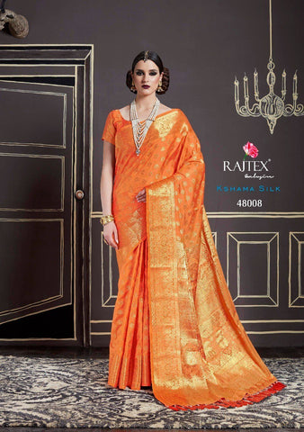 Orange Pink Two Tone Nylon Silk Saree