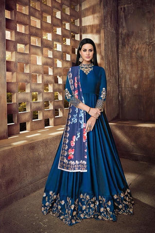 Blue Silk Anarkali Style Party Wear Suit