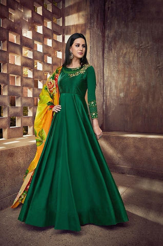 Green Silk Anarkali Style Party Wear Suit