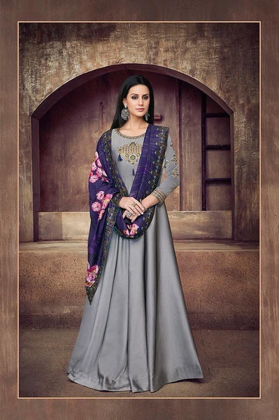 Grey and Purple Satin Anarkali Style Party Wear Suit