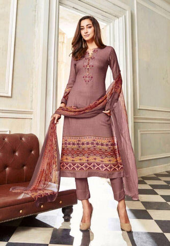 Dull Pink Designer Straight Suit