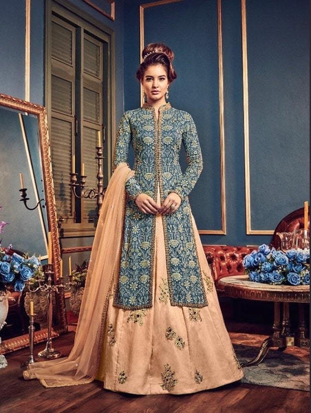 Blue and Peach Georgette and Silk Lehenga Style Salwar Suit