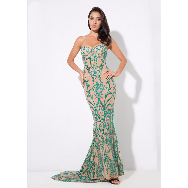 Sarah Flower Vine Glitter Wedding  Maxi Dress