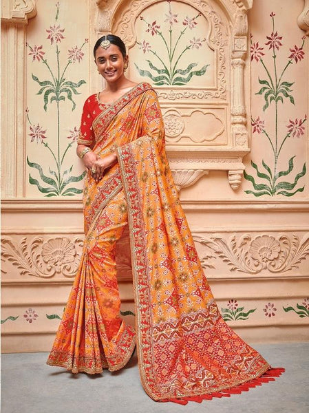Banarasi Silk Orange Sangeet Ceremony Saree With Designer Blouse